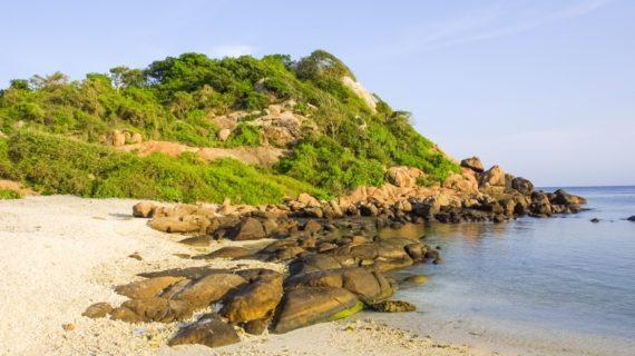 Coastal landscape off Pigeon Island, near Trincomalee, off the coast of eastern Sri Lanka.